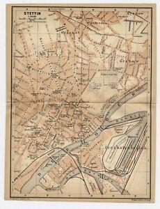1904 ORIGINAL ANTIQUE MAP OF SZCZECIN STETTIN POMERANIA POMMERN POLAND GERMANY