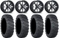 "ITP Cyclone 14"" Wheels Machined 28"" Versa Cross V3 Tires Suzuki KingQuad"