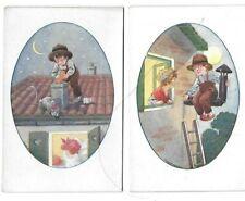 2 CPA cartes postales anciennes publicité magasins Samaritaine enfants amour