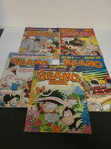 Lot of 5 Vintage The BEANO UK Comic Books - Early 2000s Full Size Books Rare GC