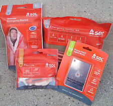 SOL Emergency Survival Items Set of 4: Signal Mirror, Shelter, Blanket, Fire Kit