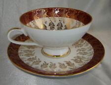 PMR Bavaria JAEGER & CO. Germany Burgundy/Gold Leaf Porcelain Tea Cup & Saucer
