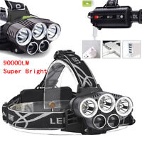 Bright 90000LM 5X T6 LED Headlamp Rechargeable Headlight Flashlight Torch Lamp s
