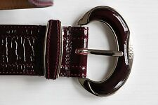 BNWOT TOD'S Crinkled Patent Leather Belt Burgundy Red 80 CM Silver Buckle Maroon