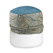 Monochromatic Paisley Aqua Blue Footstool Cover
