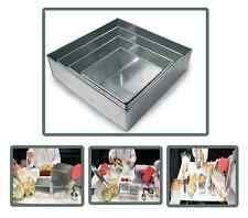 "Set of 4-piece square cake baking pans by Euro Tins 6, 8, 10 & 12 Inch (3"" deep)"