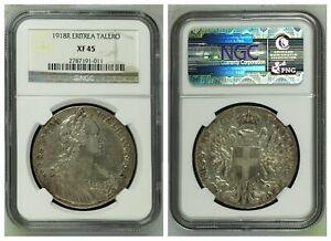 NGC Eritrea 1918 R Talero Italian Emanuele IIII Silver Coin XF45