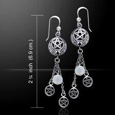Pentacle Pagan Wicca Rainbow Moonstone .925 Sterling Silver Earrings Peter Stone