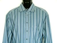 Armani Collezioni Mens All Cotton Long Sleeve Shirt Sz L Blue Stripe Md in Italy