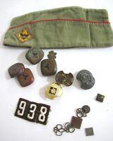 Vintage Boy Cub Scout Lot Scarf Holders Slides BSA Garrison Uniform Cap Parts