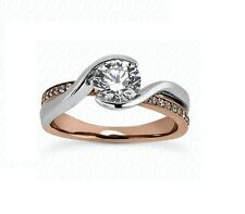 14k Rose And White Gold Two Tone Diamond Twisted Engagement Ring Setting Jewelry