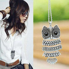 Trendy Lady Women Vintage Silver Bronze Owl Pendant Necklace Gift For Christmas
