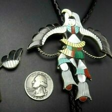 Vintage ZUNI Sterling Silver EAGLE DANCER BOLO Tie, INLAY of Turquoise Coral MOP