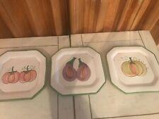 VIETRI Italy Set of 3 Square Vegetable Wall Plates Eggplant Pumpkin Tomatoes
