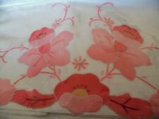 BNWT WHITE WITH PINK FLOWER EMBROIDERY AND APPLIQUE STANDARD PILLOWCASES BEDDING