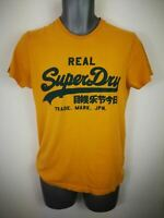 MENS SUPERDRY YELLOW SPELLOUT LOGO SHORT SLEEVED CREW NECK T SHIRT UK SMALL S