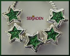5 Green Sparkly Star Charm Spacers 11x11 & 5 mm hole Fits European Jewelry S121
