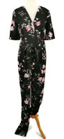 Long Tall Sally 10 Black Floral V Neck Jumpsuit Wrap Style Belted Short Sleeve