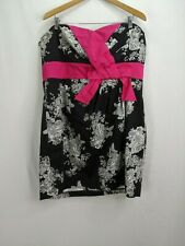 Torrid Black White Floral Sheath Dress Pink Bow Plus Size 18 Strapless NWT
