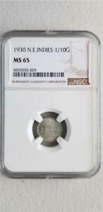 Netherlands East Indies 1/10 Gulden 1930 NGC MS 65