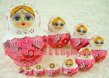 Russian Nesting Dolls Matryoskha Wooden Ornament Hand Painted Gift 10 pcs/set