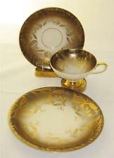 Eberthal Bavaria 2319 Trio Cup, Saucer and Plate, Brown Border, Gold Decor