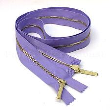 "RiRi Zipper Metal 4, 2 Way Separating End, Brass, Violet 2513, Lang S, 34.5"""