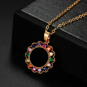 """1.20Ct Round Cut Multi-Color Circle Pendant 14K Yellow Gold Over 18"""" Free Chain"""