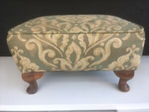 Mid Century Footstool Tapestry  Fabric Upholstered Wooden Queen Anne Legs