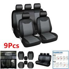 9Pcs Black Car Seat Covers Full Set Premium PU Leather For Interior Accessories