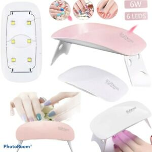 Mini Nail Lamp Gel Curing Salon Light Dryer With Timer Manicure Portable 6 Led