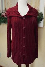 Jones New York 1X Plus Cardigan Sweater Red Cable Knit Wide Collar Buttons