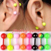 Pair 18G Double Flare Ball Ear Cartilage Tragus Helix Barbell Bar Earrings Gauge