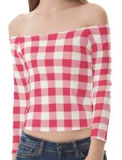 Pink White Plaid Women Shirts Strapless Off Shoulder Tops