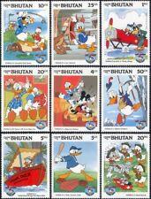 Bhutan 1984 Disney/Donald Duck/Boat/Plane/Golf/Scouts/Cartoons/Films 9v (b1597a)