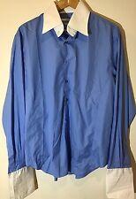 Carven Paris Men's LS Dress Shirt French Cuffs SZ XL Light Blue/ White