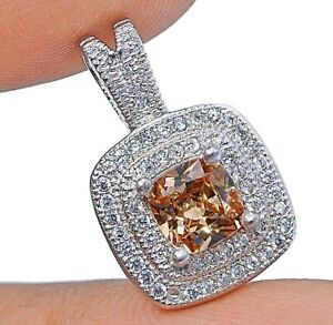 1CT Padparadscha Sapphire & Topaz 925 Solid Sterling Silver Pendant Jewelry