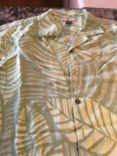 Tommy Bahama Men's Silk Green Floral Hawaiian Button Down Shirt Size L