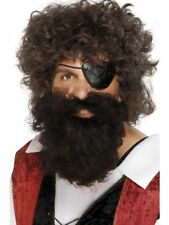 Pirate Buccaneer Beard Adult Mens Smiffys Fancy Dress Costume Accessory - Brown