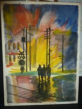 "Large Original Watercolor ""Fire Scene"" by Martha Chacona"