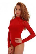 Women Red Bodysuit Long Sleeve Turtleneck Top Blouse Lace Body Suit Lingerie