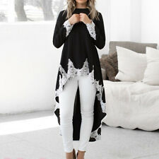 Women Long Sleeve Dress Lace Pullover Irregular Hem Blouse Solid Lace Shirt Top