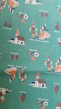 Vintage Feedsack Feed Sack Aqua Teal Full Piece Fabric Church Austria Dance