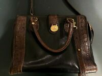 Brahmin Tuscan Collection Handbag/Purse Black with Croc Embossed Brown Leather
