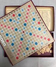 VINTAGE SCRABBLE BOARD GAME 1953 SELCHOW & RIGHTER 100 Tiles Board 4 Wood Holder