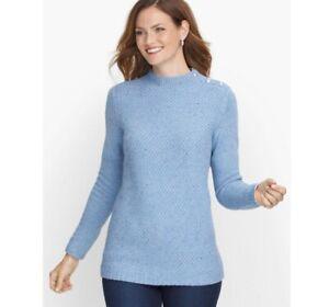 Talbots Mockneck Tweed Sweater Petite M MP Blue Button On Shoulder Cotton Blend