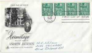 2 '59 FDCs 4 1/2c Hermitage home of Andrew Jackson Coil SC#1059 ArtCraft strip 4