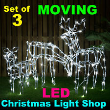 Set 3 MOTORISED Reindeer Family Moving DEER Outdoor Christmas White LED Lights