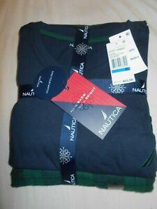 NWT Nautica Men's Navy Blue And Navy And Green Plaid Cotton Sleepwear Set XL