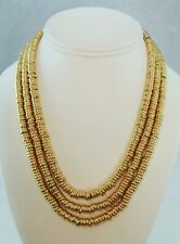 "Egyptian Triple Strand Gold Plated Beaded Shebyu Necklace 17.5"" Toggle Closure"
